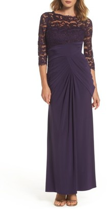Women's Adrianna Papell Lace & Draped Jersey Gown $229 thestylecure.com