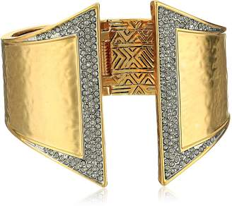 House Of Harlow Golden Scutum Hinge Cuff Bracelet