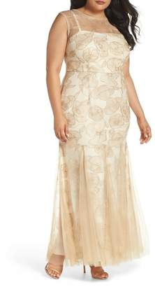 22d32eb7125c7 Adrianna Papell Sleeveless Embroidered Gown (Plus Size)