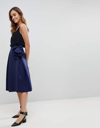 Asos DESIGN Scuba Prom Midi Skirt with Corsage Detail