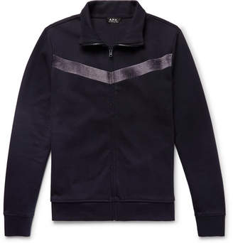 A.P.C. Jessy Slim-Fit Velvet-Trimmed Cotton-Jersey Track Jacket