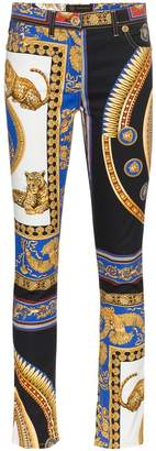 Versace High Waisted the lovers print jeans