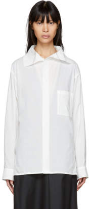 Y's Ys White Asymmetric Shirt