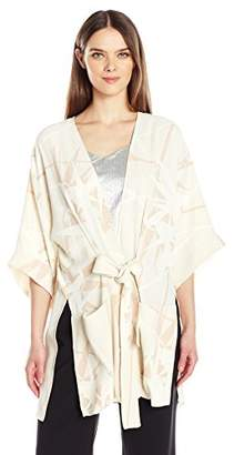 Halston Women's Printed Kimono Wrap Jacket with Multi Needle Sash