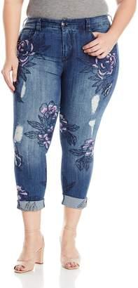 Melissa McCarthy Women's Plus Size Skinny Frontal Flower Embellished Jean