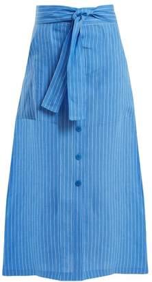 Diane von Furstenberg Mid Rise Striped Linen Skirt - Womens - Blue White