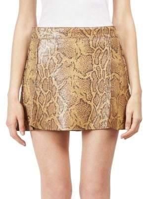 Chloé Python Print Leather Mini Skirt