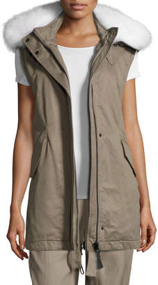 Derek Lam 10 Crosby Utility Cotton Vest w/ Fur Hood, Sage