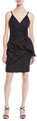 Victoria Beckham Victoria V-Neck Sleeveless Cotton Sundress w/ Bow Faux-Wrap Skirt