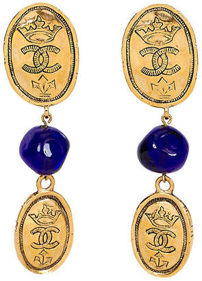 One Kings Lane Vintage Chanel Blue Gripoix Logo Coin Earrings - Vintage Lux