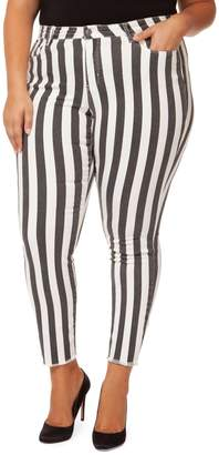 Dex Striped High-Rise Jeans