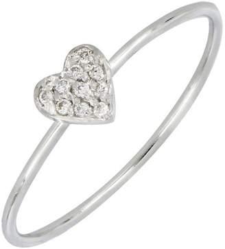 Bony Levy 18K White Gold Diamond Pave Heart Ring - 0.04 ctw