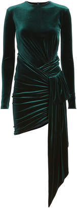 Alexandre Vauthier Side Drape Green Velvet Mini Dress