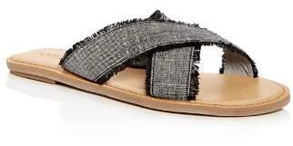 Toms Women's Viv Linen Chambray Fringe Crisscross Slide Sandals