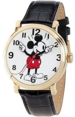 Disney Mickey Mouse Men's Gold Vintage Alloy Watch, Black Leather Strap