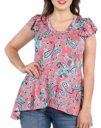 24/7 Comfort Apparel 24Seven Comfort Apparel Scout Hi Lo Pink Plus Size Tunic Top