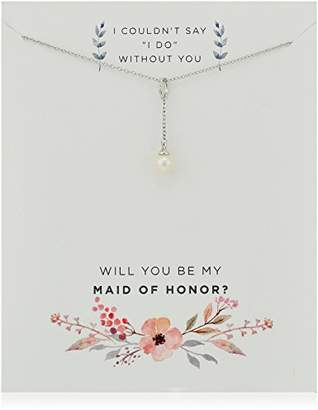 """Sterling Silver Freshwater Cultured Pearl""""Be My Maid of Honor"""" Gift on Sentiment Card Y-Drop Pendant Necklace"""