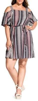 City Chic Plus Rose Stripe Dress
