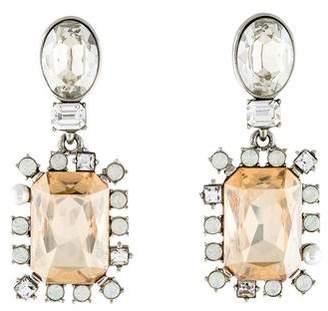 Oscar de la Renta Faux Pearl & Crystal Drop Earrings