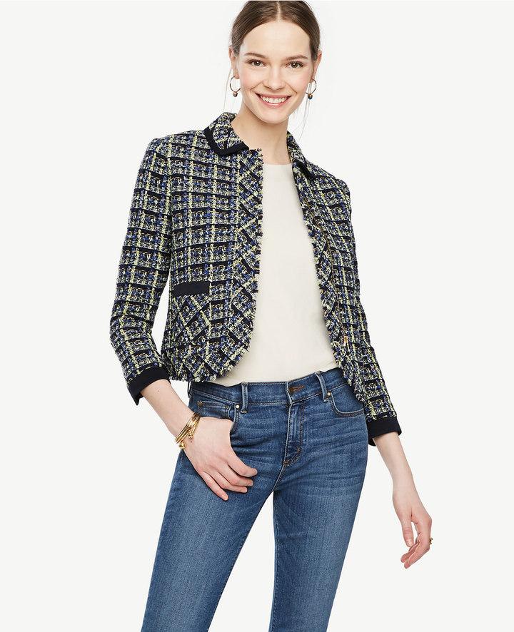 Ann TaylorPetite Plaid Tweed Jacket
