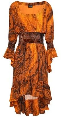 Just Cavalli Asymmetric Smocked Snake-print Crepe Dress