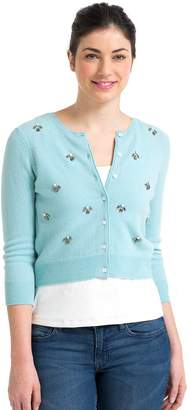 Wool Overs WoolOvers Womens Cashmere and Merino Embellished Cropped Crew Neck Knitted Cardigan , M