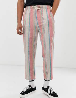 Asos Design DESIGN skater ankle grazer pants in linen stripe