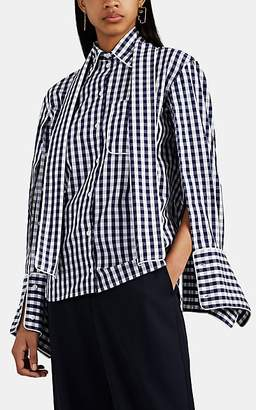 J.W.Anderson Women's Gingham Cotton Scarf-Collar Blouse - Blue Pat.