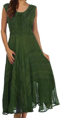 Sakkas 223 Kevina Stonewashed Rayon Embroidered Dress