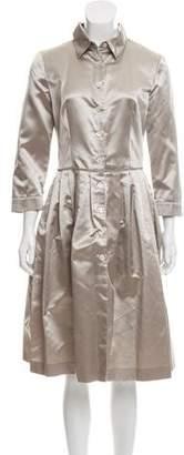 Prada Pleated Button-Up Dress