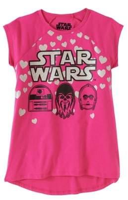 Star Wars Girls' Faces and Hearts Short Sleeve Raglan Hi-Low Graphic T-Shirt