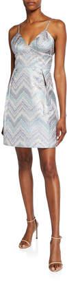 Laundry by Shelli Segal Zigzag Metallic Fit-&-Flare Mini Dress