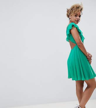 Asos (エイソス) - ASOS Petite ASOS DESIGN Petite pleated ruffle mini dress with cut outs