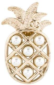 Chanel CC Faux Pearl Pineapple Pin