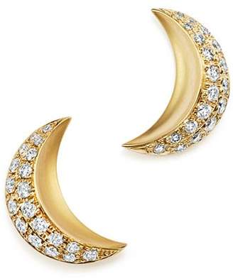 Temple St. Clair 18K Yellow Gold Cresent Moon Earrings with Pavé Diamonds - 100% Exclusive