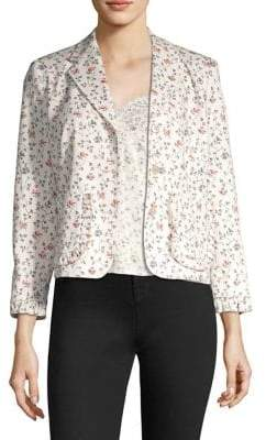 Rebecca Taylor Floral Vine Ruffle Pocket Twill Jacket