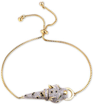Tiara Cubic Zirconia Wild Cat Bolo Bracelet in 14k Gold-Plated Sterling Silver