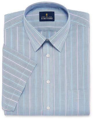 STAFFORD Stafford Travel Easy Care Broadcloth Mens Point Collar Short Sleeve Stretch Dress Shirt
