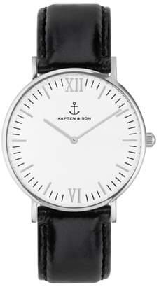 KAPTEN & SON Campus Leather Strap Watch, 40mm