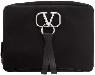 Valentino Black Garavani Large Nylon VRing Clutch