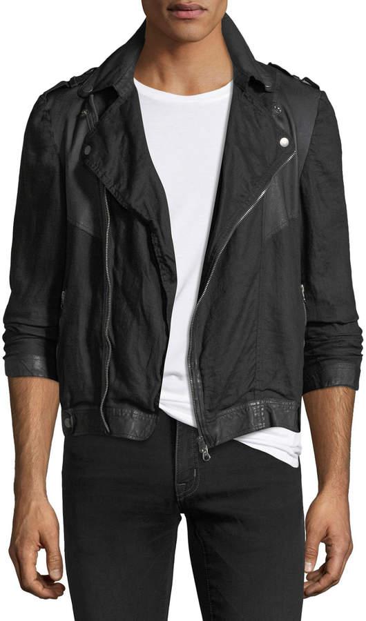 Jakett Leather-Trim Linen Moto Jacket