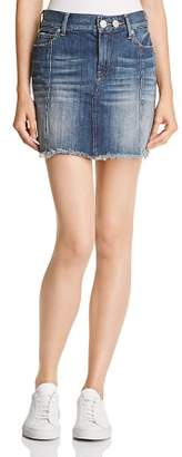 True Religion Mid Rise Denim Skirt in Seasoned Blue