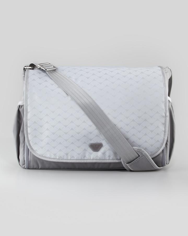 Armani Junior Logo-Print Diaper Bag, Light Gray