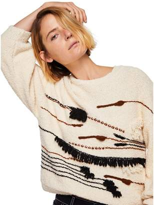 MANGO Natural Embroidered 'Geology' Sweater