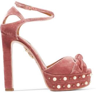 Aquazzura - Harlow Embellished Velvet Platform Sandals - Antique rose $950 thestylecure.com