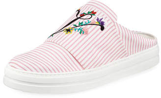 Roger Vivier Floral-Embroidered Sneakers Mule
