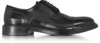Santoni Oscar Black Leather Derby Shoes