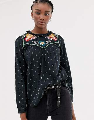 Leon and Harper & Harper Craquante embroidered folk blouse