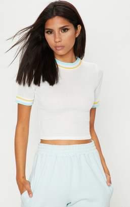 PrettyLittleThing Cream Rib Sport Trim T Shirt