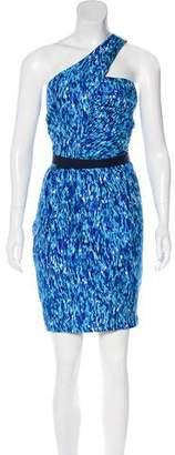 Trina Turk Silk One-Shoulder Knee-Length Dress
